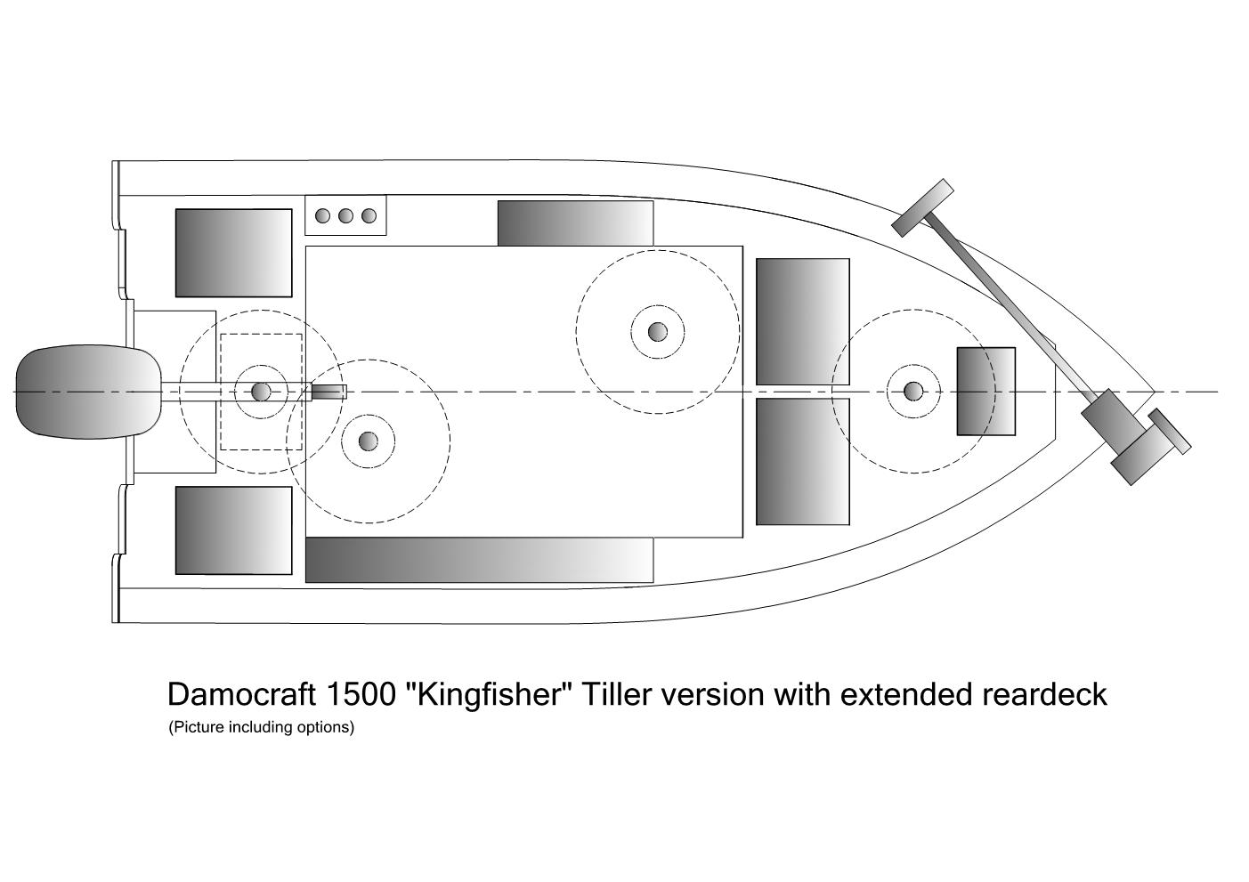 Damocraft 1500 Kingfisher Tiller version with extended reardeck