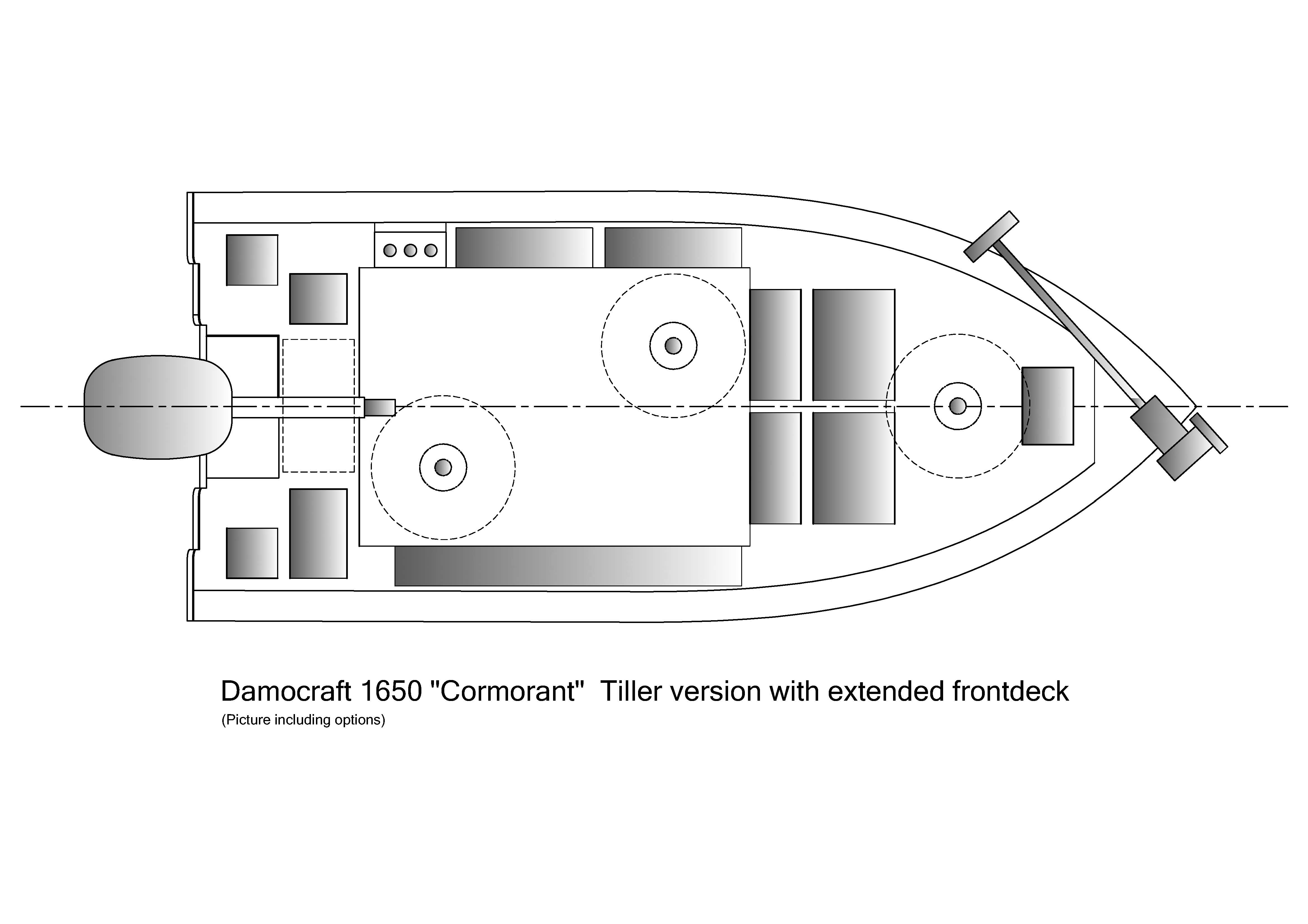 Damocraft 1650 Cormorant Tiller version with extended frontdeck